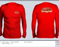 para_dise_T-SHIRT RED LONG SLEEVE ROUND NECK
